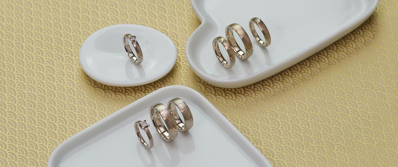 Mokume Gane - Eheringe und Diamantringe