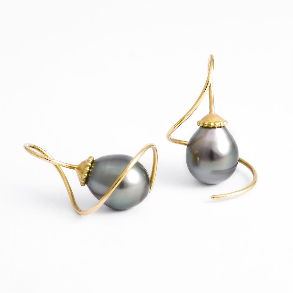Ohrhänger - Tahitiperle und 750er Gold