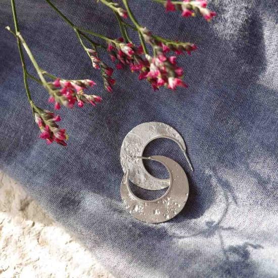Große Statement-Creolen »Mond« aus 925er Silber