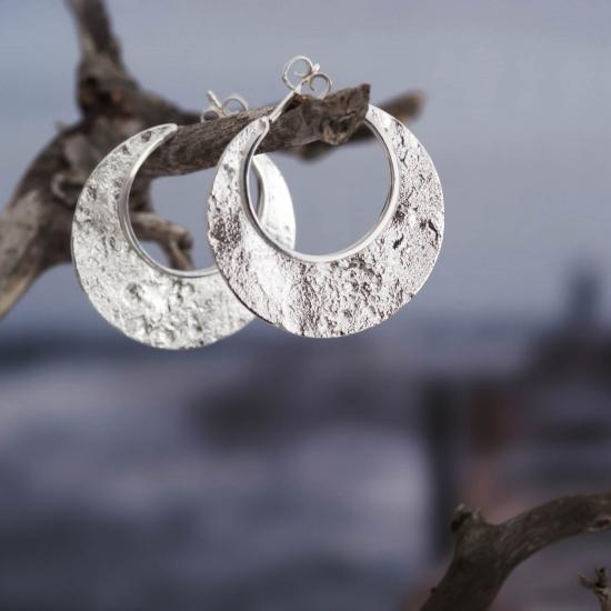 Große Statement Creolen Mond aus Silber