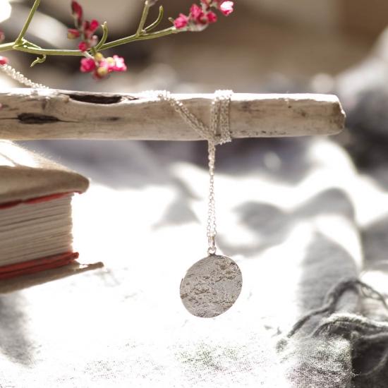 Zarte Halskette mit Kreis-Anhänger »Mond« aus 925er Silber