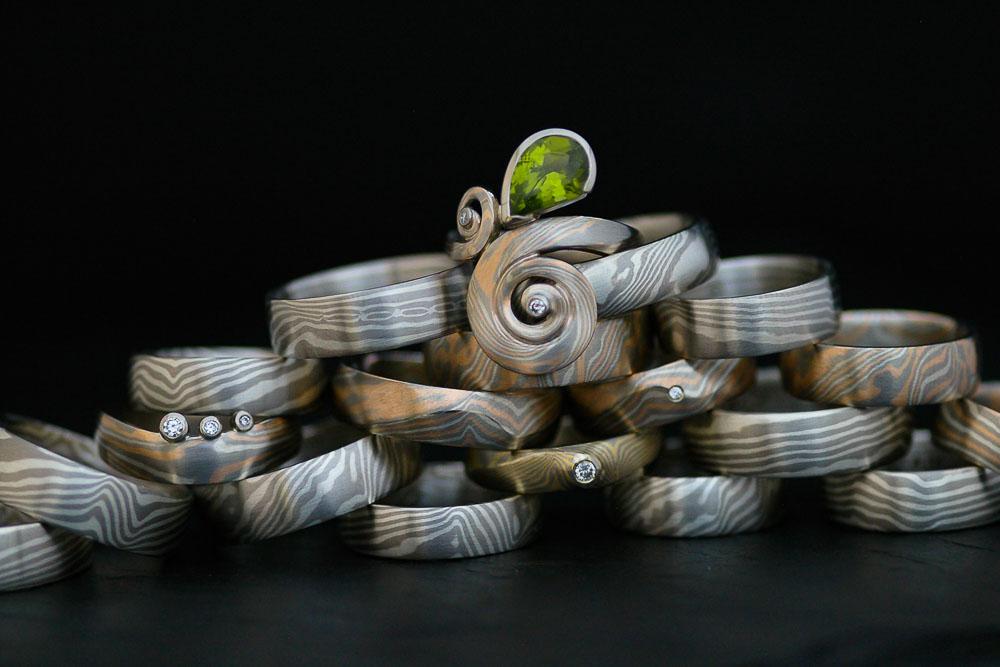 Die Vielfalt von Mokume Gane-Ringen